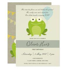 CUTE ELEGANT GREEN BLUE FROG KID BIRTHDAY INVITE - toddler youngster infant child kid gift idea design diy