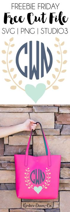 Heart Garland Monogram Free Cut File available in SVG, PNG, DXF and STUDIO3 formats for use with your Silhouette or Cricut Cutting Machines! | KimberDawnCo.com