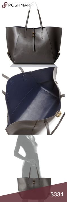 """ZAC Zac Posen Eartha Folded Gusset Shopper Simply gorgeous! This will be your go-to bag for years to come. The shopper is charcoal and is made of calf leather. It has 2 top hands with a 9.5 inch drop. It has an open top with a tab closure and folded side gussets. It has metal feet to protect the bottom. The tote measures 13""""H x 14.3""""W x 6.5""""D. Comes with dust bag. Zac Posen Bags Totes"""