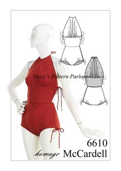 1950s bathing suit vintage sewing pattern by designer Claire McCardell, brought to you by Daisy's Pattern Parlour. For more iconic designs follow the link. Order yours today and wear an amazing outfit to the beach, or wear with trousers? #Swimwear, beach wear, swim suit, swimsuit, bather.