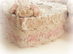 Crystal Roses Heart Boxes is part of Wedding Ring Pillow White Ring Pillow Lace Crystal Rose - Crystal Roses Heart Boxes Shabby Chic Boxes, Shabby Chic Crafts, Vintage Crafts, Shabby Chic Style, Rose Wedding Rings, Cigar Box Crafts, Box Roses, Ring Pillow Wedding, Fabric Boxes
