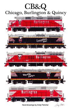 5 hand drawn CB&Q locomotive drawings by Andy Fletcher