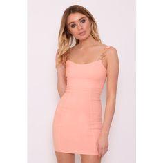 5329c09991 Rare Jasmin Walia Wears Blush Pink Chain Strap Bodycon Dress ( 9.22) ❤ liked  on
