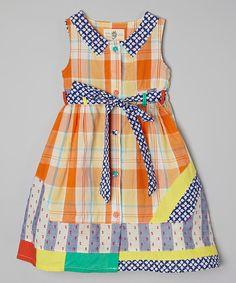 This Poco & Picotine Orange Plaid Dress - Toddler & Girls by Poco & Picotine is perfect! #zulilyfinds