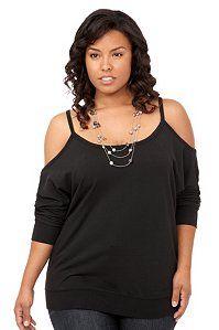 Black Cold-Shoulder Pullover | Tops