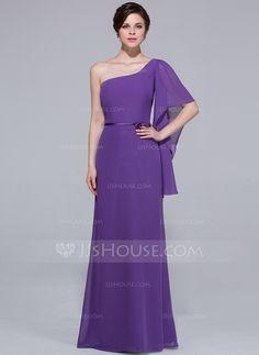 Vestido tubo Un sólo hombro Hasta el suelo Chifón Dama de honor (007037218) - JJsHouse