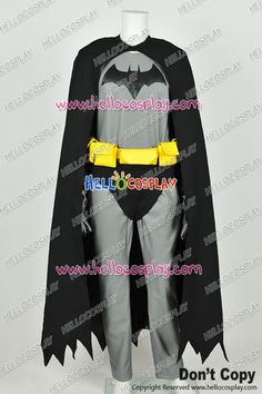 Batman The Dark Knight Bruce Mayne Uniform Gray Jumpsuit Black Cape Costume Leather Version