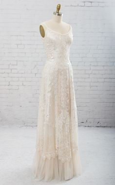 Wedding gown of embroidered silk and artfully arranged laces and trims. Includes Shawl. Unique Wedding Dress. Backyard Wedding Dress. by MartinMcCreaCouture on Etsy https://www.etsy.com/listing/228308010/wedding-gown-of-embroidered-silk-and