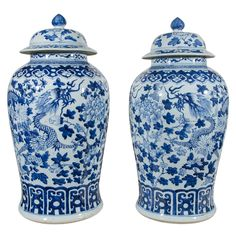 Pair of Large Blue and White Chinese Porcelain Vases with Dragons | From a unique collection of antique and modern vases at https://www.1stdibs.com/furniture/dining-entertaining/vases/