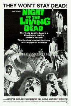 """""""Night of the Living Dead  """" by MMG Archives, Kansas City // For the vintage horror movie fan - Reproduction of the Night Of The Living Dead horror movie poster issued in 1968. // Imagekind.com -- Buy stunning fine art prints, framed prints and canvas prints directly from independent working artists and photographers."""