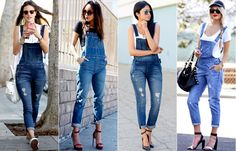 macacão-jeans-jardineira Jumper Outfit, Overalls Outfit, Booties Outfit, Denim Overalls, Dungarees, Shorts, Dressy Outfits, Spring Outfits, Cute Outfits