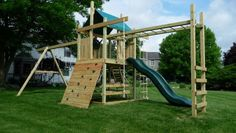 outdoor playsets with monkey bars plans | wooden swing sets