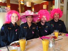 The crew of HMNZS Te Mana are tickled pink at their Breakfast!