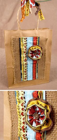 Burlap and fabric meets craft gift bag