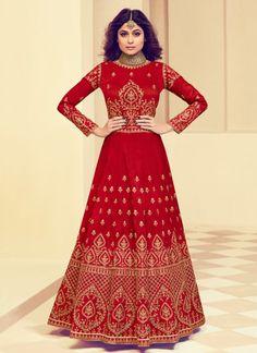 Red Mulberry Silk Party Designer Anarkali Suit Robe Anarkali, Costumes Anarkali, Silk Anarkali Suits, Anarkali Bridal, Indian Anarkali, Sharara Suit, Lehenga Blouse, Salwar Suits, Designer Anarkali