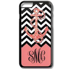 Coral Chevron Anchor Monogram Iphone 6/6s Case Plus 5c 5/5s 4/4s Personalized Custom Cover Zig Zag
