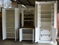 What it looks like inside Milestone Kitchen Units, from left, 900 Grocery Cupboard, 900 Coffee Dresser, 900 Deluxe.
