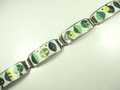 Perli Stegemaille Armband Vintage 30er 50er Emaille  enamel bracelet cc N4