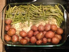 Made this variation of another Pinterest recipe: combine chicken breasts, fresh green beans & new potatoes in baking dish. Sprinkle on a packet of Ranch seasoning & add one melted stick of butter. Bake at 350 for 1 hr 20 min, or until vegetables are tender. Turned out so yummy!!!