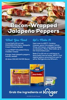 Bacon Wrapped Jalapenos, Stuffed Jalapeno Peppers, Crockpot Recipes, Keto Recipes, Cooking Recipes, Drink Recipes, Bread Recipes, Chicken Recipes, Healthy Recipes