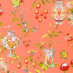 Fishbowl Wallpaper & Printed Fabric in Coral from the Sweet Life Collection by #Thibaut    #fishbowl #wallpaper