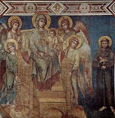 Fecha: 1278-1280  Autor: Cimabue  Título: Madonna con ángeles y san Francisco  Estilo artístico: Pintura gótica. escuela italiana.  Caract: comienzan a pintarse frescos. Aparición de todo lo relacionado con la religión, la iconografía religiosa. Uso de colores claros.