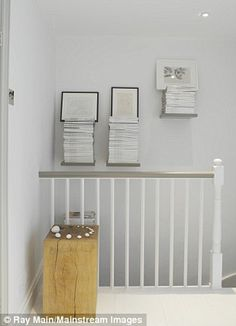24 best painted banister images in 2015 White Banister, Banisters, Stair Banister, Railings, Painted Staircases, Painted Stairs, Hallway Decorating, Decorating On A Budget, Bannister Ideas Painted