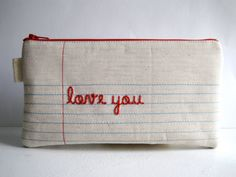 $30 Lined Paper Fabric (on both sides) Pencil Case, Pencil Pouch. Hand Embroidered. Handwritten Message. Personalized. Made to order.