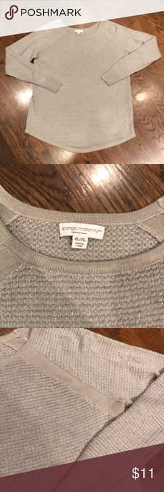 """Liz Lange for Target Maternity Sweater Liz Lange gray maternity sweater accented with silver threading. In great condition, two tiny snags as pictured (one on shoulder, one on back). This will go with anything and will be a """"go to"""" maternity item for you. Size XL, but could honestly fit just about anyone with leggings or jeans! Sweaters Crew & Scoop Necks"""