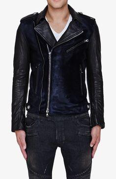 Balmain Midnight Blue Calf-hair Leather Sleeve Biker Jacket (http://www.upscalehype.com/2012/10/balmain-midnight-blue-calf-hair-leather-sleeve-biker-jacket/)
