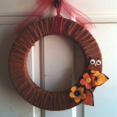 Fall wreath with felt decorations