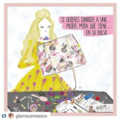 New comic for @glamourmex   If you want to know the real woman, take a look in her purse  #Repost @glamourmexico ・・・ Tú qué llevas en el tuyo? | Cómic by @fashcomofficial  #glamour #purse #woman #fashion #comic #candy #makeup #littlefashionstory
