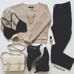 Black and beige fall outfit