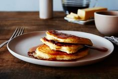 The Kitchn's Lofty Buttermilk Pancakes  SHOP FEATURES RECIPES CONTESTS HOTLINE      ␡  BREAKFASTHOW TO COOKGENIUS RECIPESKITCHEN HACKSTIPS & TECHNIQUES  A Genius Trick for Fluffier Buttermilk Pancakes (No Whipping Egg Whites!)