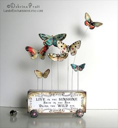 Love the butterflyies (one flying away!) french-distress look wood block