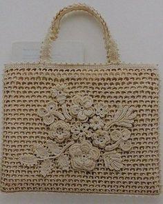 Crochet Bag with Irish crochet motiffs Crochet Tote, Crochet Handbags, Crochet Purses, Knit Crochet, Free Crochet, Macrame Bag, Tapestry Crochet, Knitted Bags, Crochet Accessories