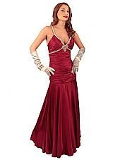 Garnet Red Deco Inspired Evening Gown w/Rhinestone Accents