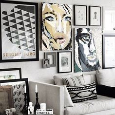 Awesome #gallerywall #blackandwhite and a touch of #color #art #pictureframes #interiordesignideas #karensdetailcustomframes #orangecountyca