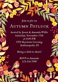 Celebrate the season with this festive fall party invitation. Design features autumn leaves that perfectly frame your event details against a dark maroon background. October Birthday Parties, Fall Birthday, Anniversary Parties, 25th Anniversary, Birthday Celebration, Birthday Ideas, Fall Harvest Party, Autumn Harvest, Autumn Leaves