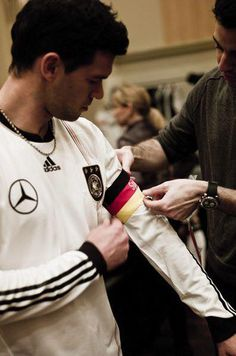 Michael Ballack Wearing The Captains Armband For Dfb