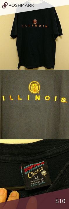 """Mens Illinois T-Shirt XL Soffe's Choice men's t-shirt. Very nice 100% cotton fabric in navy blue with gold embroidery on the front. Size XL. Across the chest is 24"""" and from the shoulder to the hemline is 28.5"""" Soffe Shirts Tees - Short Sleeve"""