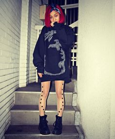 Tattoo tights, over sized sweater and Dr. Martens Thelma
