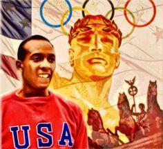 """Jesse Owens (USA). """"La bala"""", James Cleveland Owens (1913-1980). Universidad de Ohio. Campeón Olímpico en Berlín'36 en 100, 200, 4x100 y salto de longitud. RM con 10,2s y 20,7s en 1936 y RO con 10,3s y 20,7s. En Longitud 8.13 en 1935 RM y 8.06 En Berlín'36 RO."""