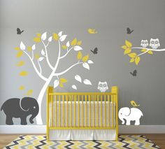 Nursery Wall Decal with Elephants, Tree, Birds, Butterflies, and Owls