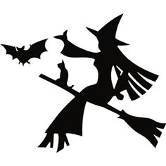 Silhouette Design Store - View Design #31942: flying witch and bat