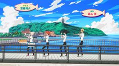 Tsuritama ~~ OP animation with a famous Japanese landmark in the distance.