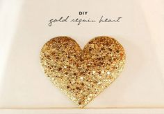 DIY large gold sequin heart wall art http://www.100layercake.com/projects/view/100/gold-sequin-heart-installation/