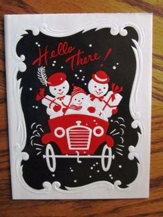 Vintage-Christmas-Card-MOD-Snowman-Couple-Family-Carrying-Gifts-Driving-Car