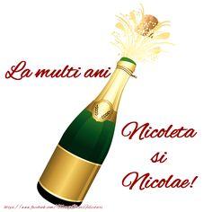 La multi ani Nicoleta si Nicolae! Champagne, Thankful, Bottle, Birthday, Christmas, Xmas, Birthdays, Flask, Navidad