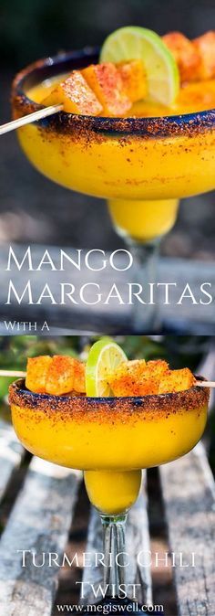 These Mango Margaritas spice things up a bit with a delicious turmeric simple syrup and a sprinkling of Tajin chili seasoning. They can also be frozen and taken to-go on picnics. | http://www.megiswell.com